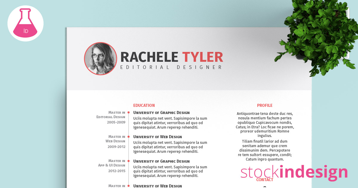 FREE InDesign Resume Template StockInDesign - indesign resume templates