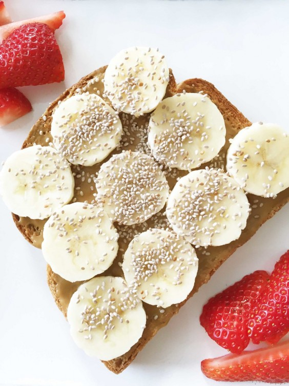 Nut Butter, Banana, and Chia Seed Toast