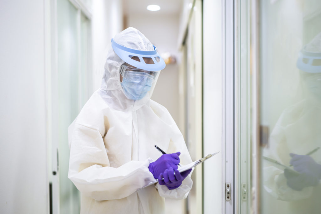 doctor in hospital wearing protective equipment