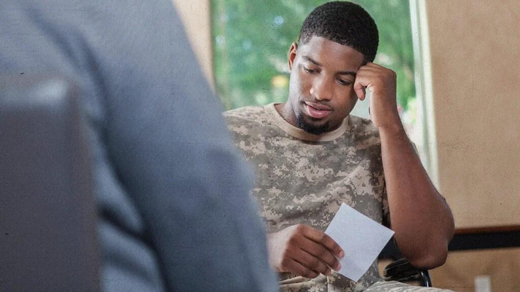 black veteran, male, speaking to therapist