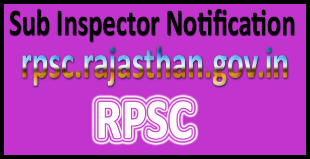 RPSC SI Recruitment 2016