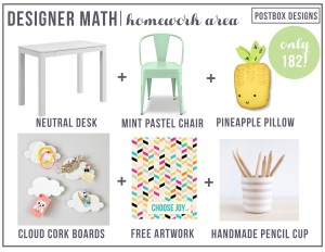 Designer Math Monday: $182 Pretty Pastel Kid's Homework Area