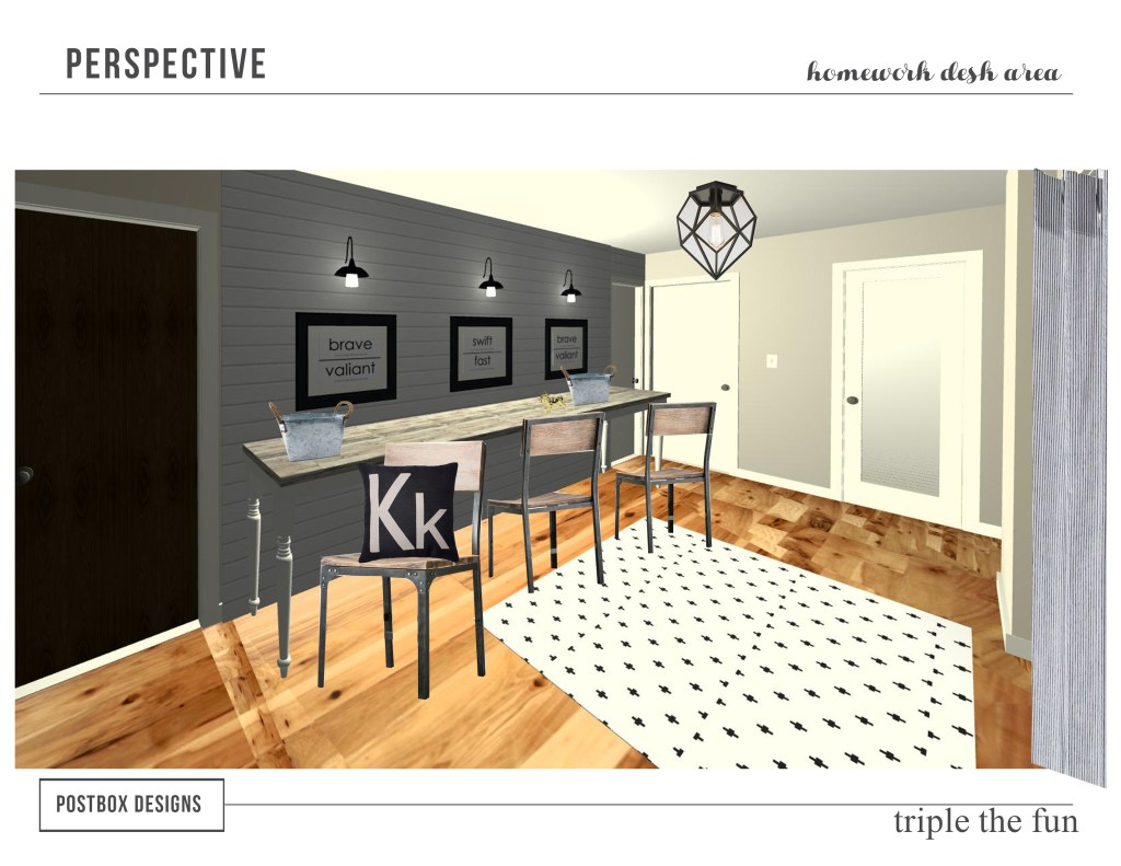 Kid's Homework Area Perspective by Postbox Designs
