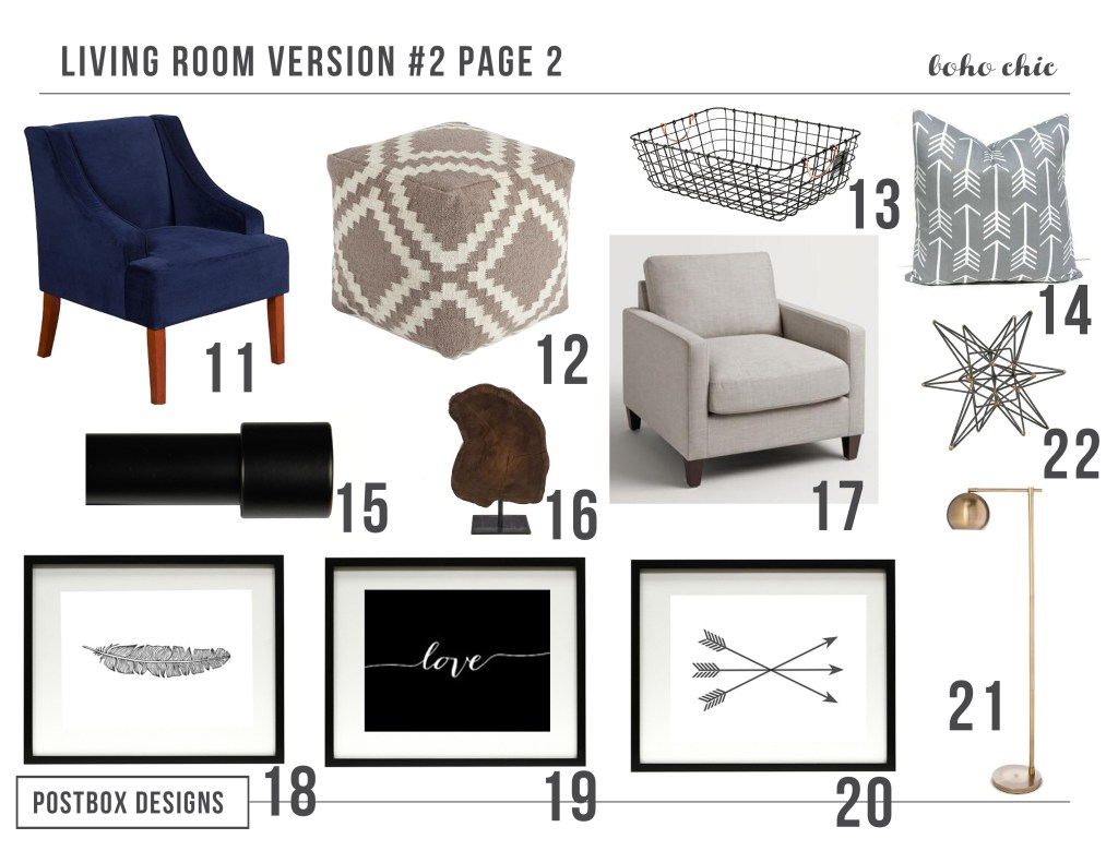 Boho Living Room by Postbox Designs E-Interior Designs, west elm, target, family room decor