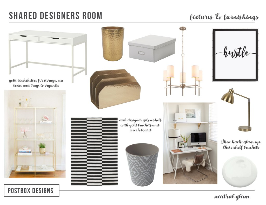 Neutral Glam Home Office by Postbox Designs E-Design