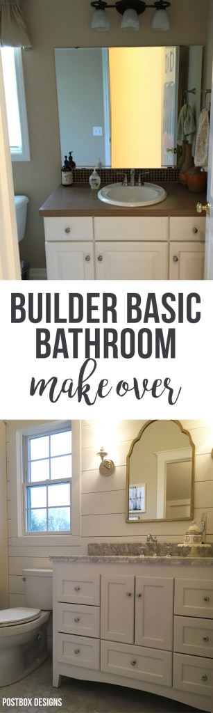Update a Builder Basic Bathroom: Fixer Upper Bath by Postbox Designs, bathroom makeover, bathroom remodel, bathroom design, fixer upper, fixer upper bathroom, cottage bathroom, ship lap, shiplap, marble hex tile, bathroom sconce, bathroom vanity, tile floor, arched mirror, e-design, powder room
