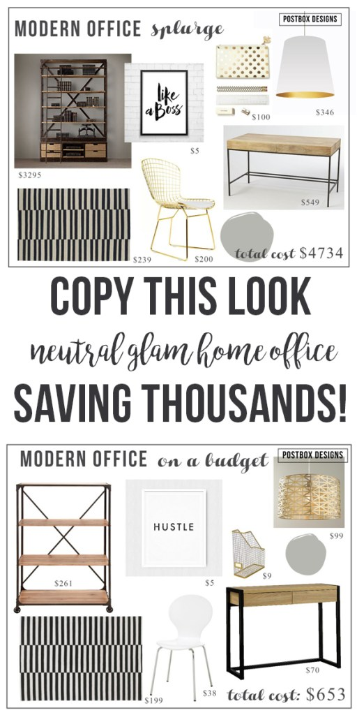 High-Low Neutral Glam Home Office by Postbox Designs: One Office Costs 7x more!