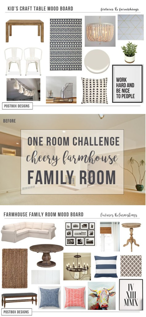 One Room Challenge Family Room Makeover by Postbox Designs E-Design: Creating a Cheery Farmhouse Style Room on a Budget! Farmhouse Decor, sisal rug, Ikea sofa, Target, craft area, World Market, distressed table, Ballard Designs