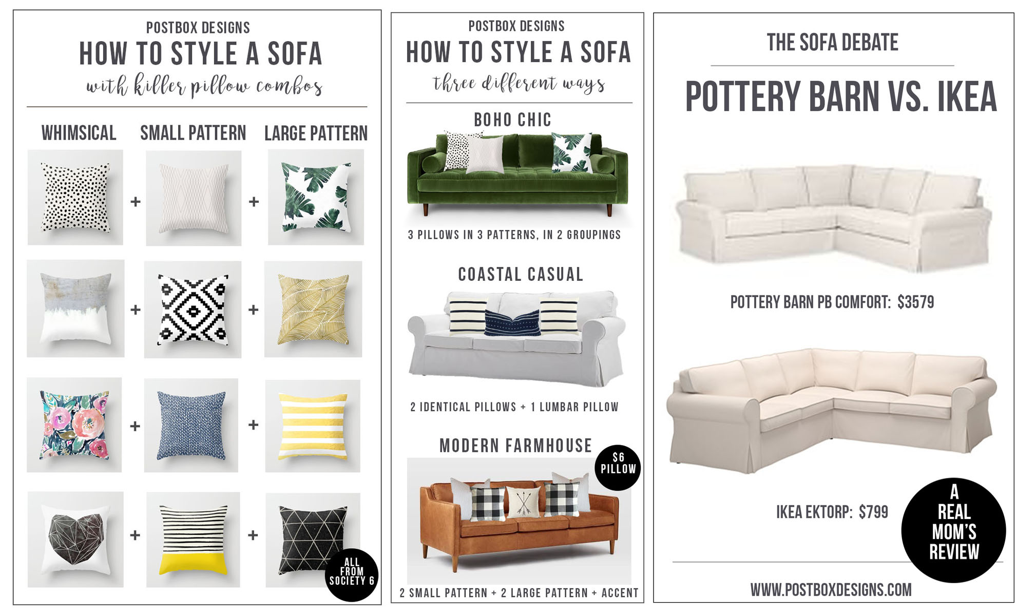 Ektorp Sofa Vittaryd White One Room Challenge Week 2 How To Style A Sofa Pillow Combos