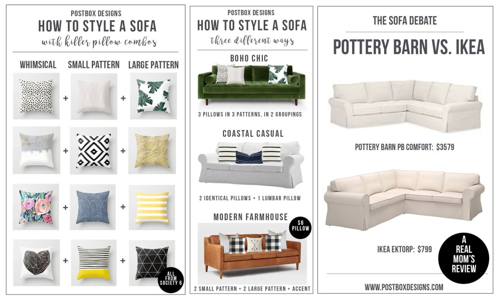 One Room Challenge: Farmhouse Family Room Makeover + Style a Sofa Guide + Pillow Combos + Ikea Ektorp Sofa Review by Postbox Designs