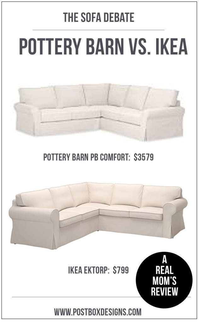 One Room Challenge: Pottery Barn vs. Ikea Ektorp Review by Postbox Designs E-Design