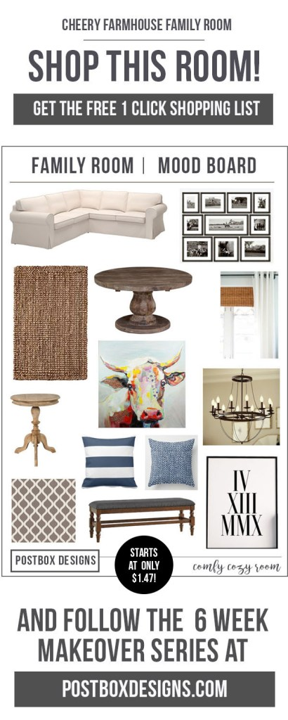 One Room Challenge Family Room Makeover by Postbox Designs E-Design: Creating a Cheery Farmhouse Style Room on a Budget! + Free Shopping List