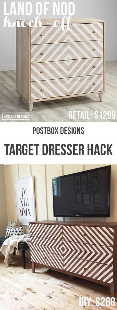 One Room Challenge: Target Dresser Hack: Budget Makeover by Postbox Designs