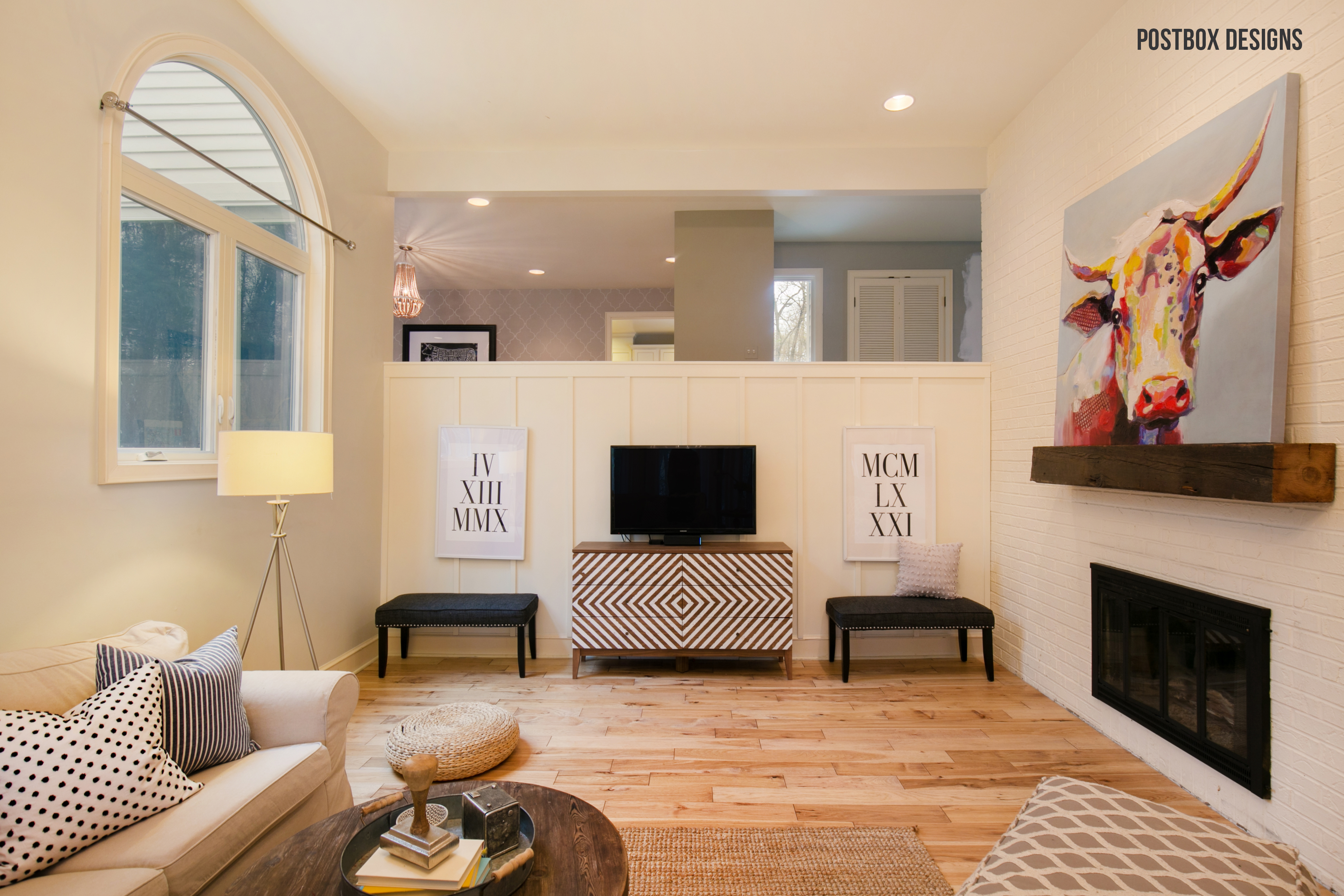 Postbox Designs: Farmhouse Family Room for One Room Challenge: Room Makeover Reveal! Fixer Upper Style Living Room