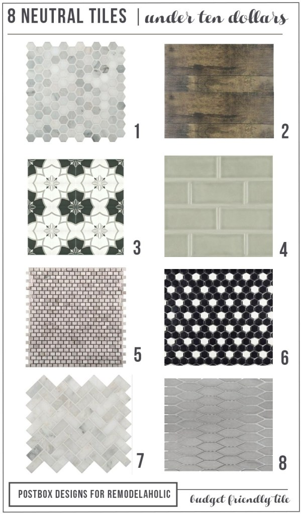 8 Tiles for Under $10 Round Up: Postbox Designs 5 Day Design Challenge: Day #5: Update your Kitchen with a New Backsplash. Find FREE Kitchen Mood Boards, the best places to buy tile, and tips on the perfect tile backsplash installation.