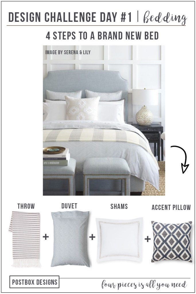 Postbox Designs 5 Day Design Challenge: Get a FREE Interior Designer in Your Inbox for a Week! Day #1: Update Your Bedding with Just 4 Items! Sign up now at www.postboxdesigns.com