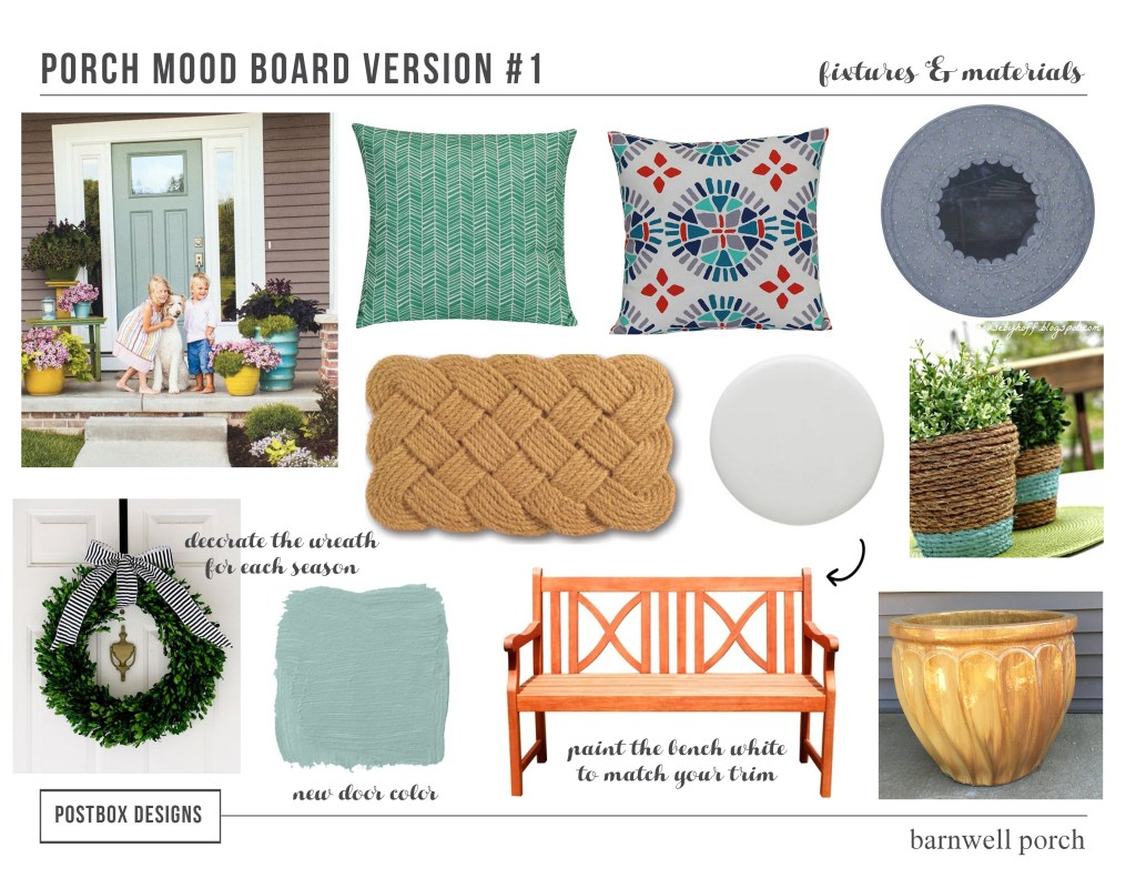 5 Front Porch Makeovers by Postbox Designs Interior E-Design, 5 Front Porch Mood Boards for your patio design, front porch decor, or back deck makeover!