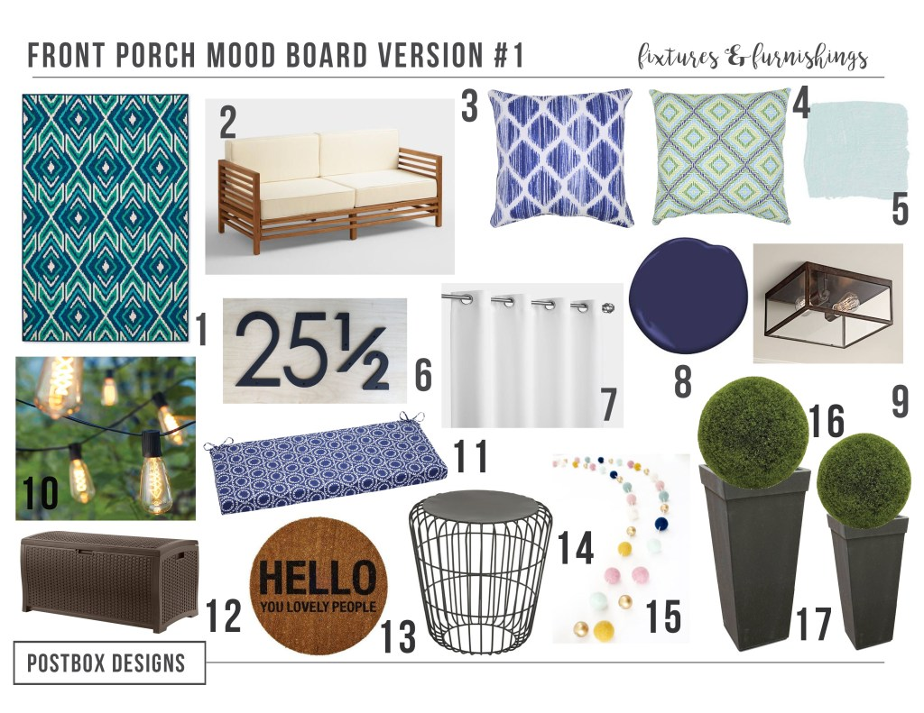 5 Front Porch Makeovers by Postbox Designs Interior E-Design, 5 Front Porch Mood Boards for your patio, porch, or back deck makeover!