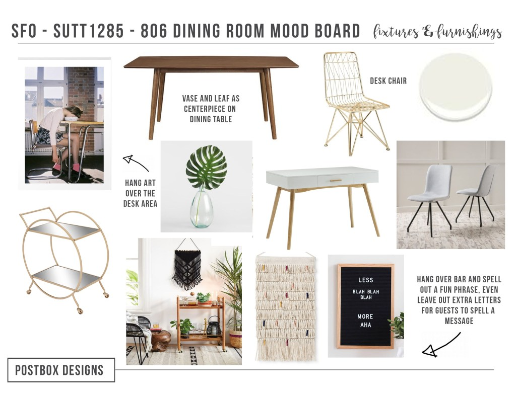 Boho Chic Dining Room + Bar on a Budget by Postbox Designs Interior E-Design, get the full mood board of this budget friendly, eclectic, boho chic room makoever!