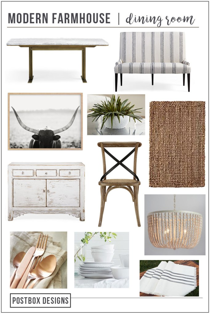 Create the Perfect Farmhouse Dining Room with this FREE Mood Board by Postbox Designs E-Design. Get the Shopping List and get inspired with modern farmhouse looks.
