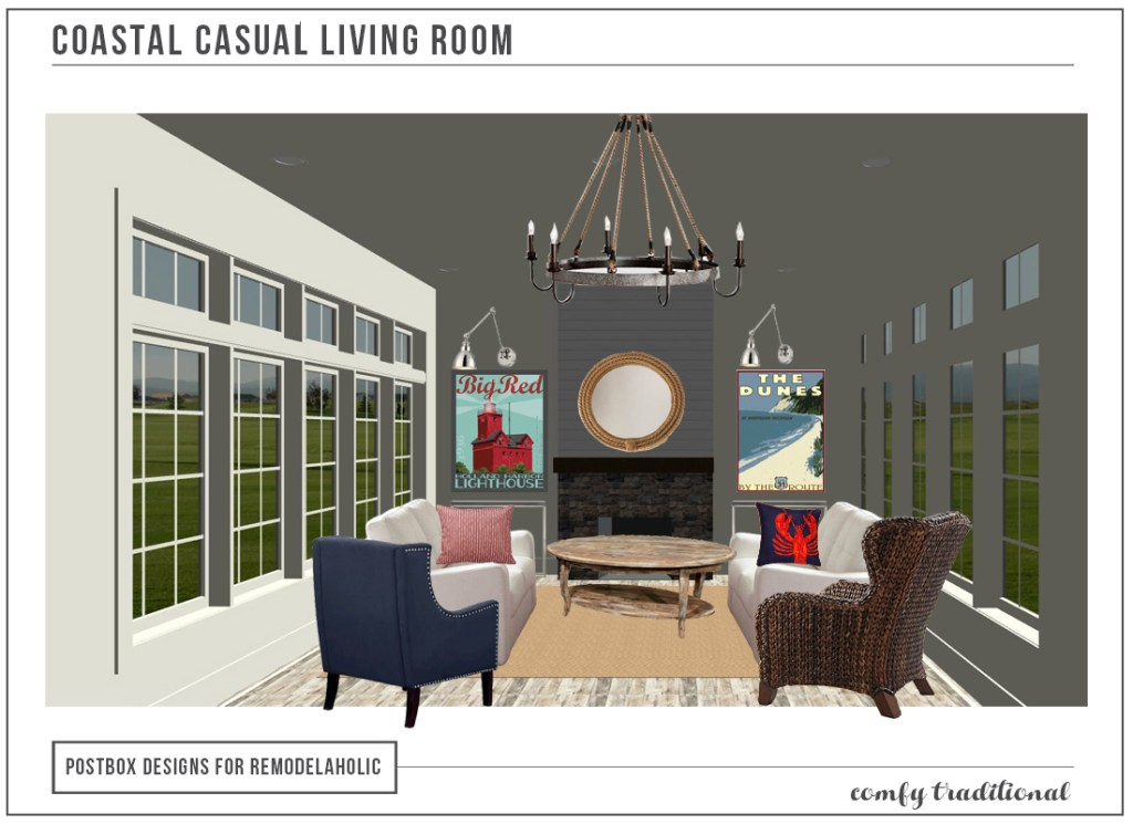 Casual Coastal Family Room Makeover by Postbox Designs E-Design