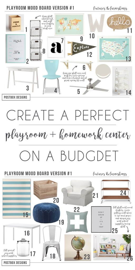 Create the Perfect Budget Friendly Cheery Playroom + Homework Center by Postbox Designs E-Design