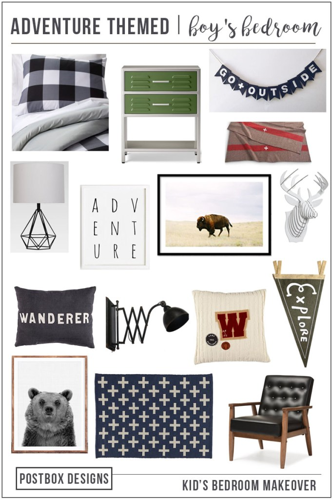 Postbox Designs E-Design: One Room Challenge Boy's Adventure Themed Room Makeover, camp bedroom decor, boy bedroom ideas