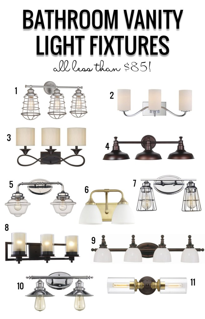 Farmhouse Bathroom by Postbox Designs E-Design, fixer upper bathroom, bathroom makeover, bathroom mood board + Bathroom Light Fixture Round Up