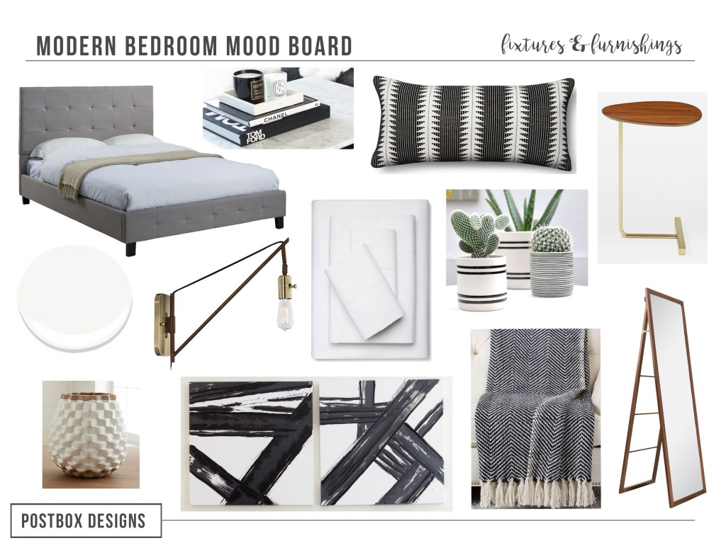 Postbox Designs E-Design: Neutral Modern Bedroom Makeover Mood Board, Modern Bedroom Decor, Small Space Design