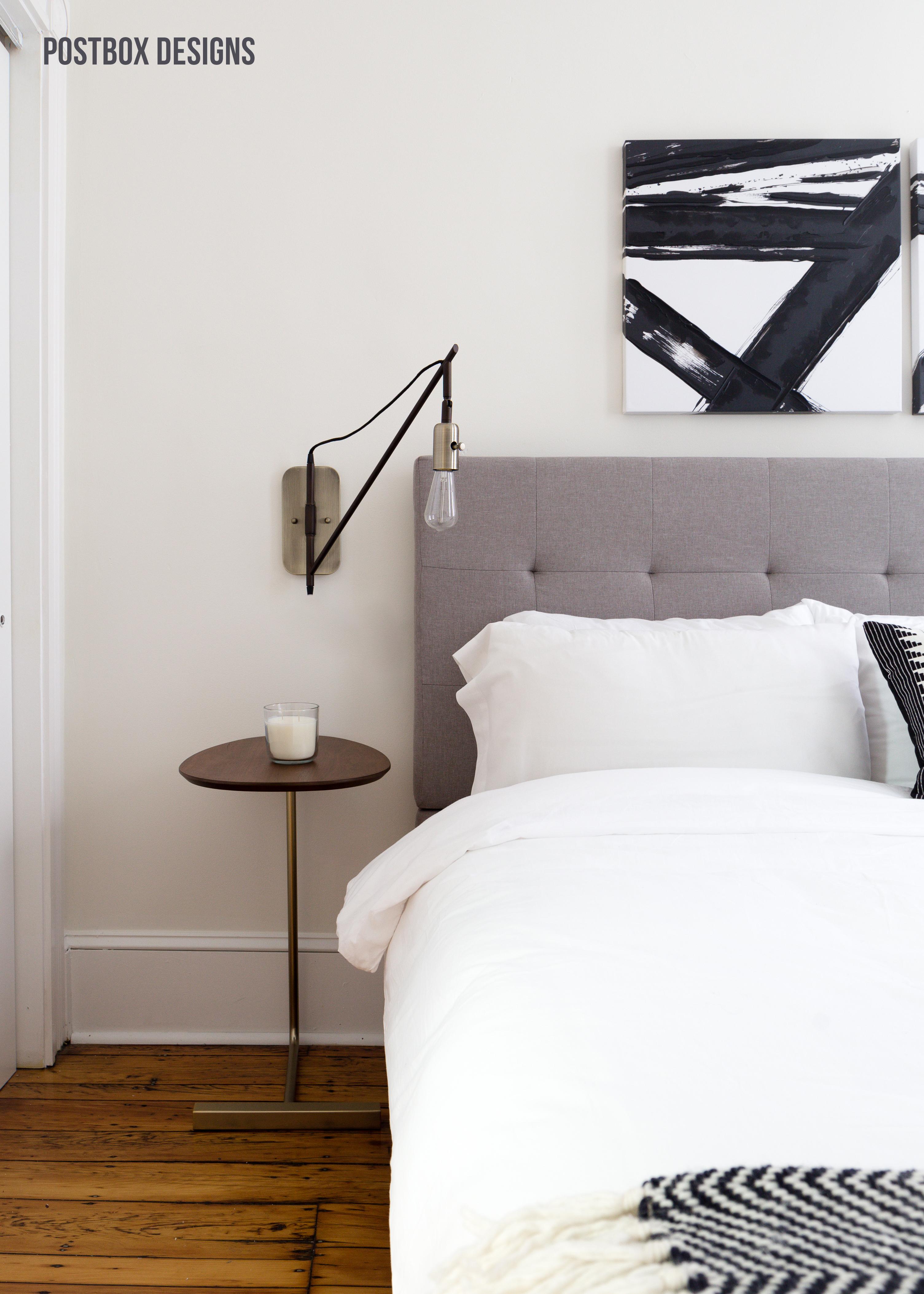 Postbox Designs E-Design: Neutral Modern Boho Bedroom Makeover, Modern Bedroom Decor, Small Space Design