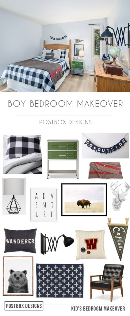 Adventure Boy's Bedroom Makeover by Postbox Designs Interior E-Design for One Room Challenge, kids bedroom decor