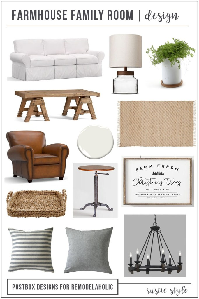 Postbox Designs E-Design: 12 Items for the Perfect Farmhouse Family Room Cheat Sheet, for Remodelaholic