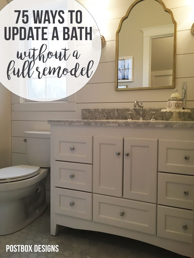 "FREE GUIDE: ""75 Ways to Update your Bathroom"": Postbox Designs E-Design: Turn Your Builder Basic Bathroom Into a Dream Farmhouse Bathroom, farmhouse bathroom design"