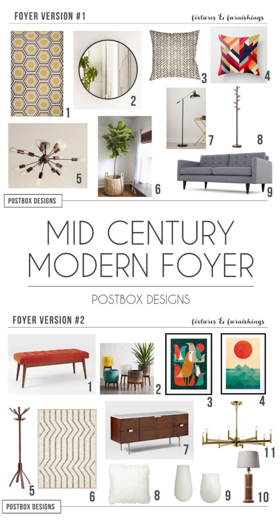 Postbox Designs Interior E-Design: Design a Mid Century Modern Foyer via online design