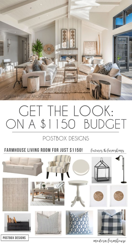 postbox designs interior e design get the look 1150 farmhouse living room design - Farmhouse Great Room Plans