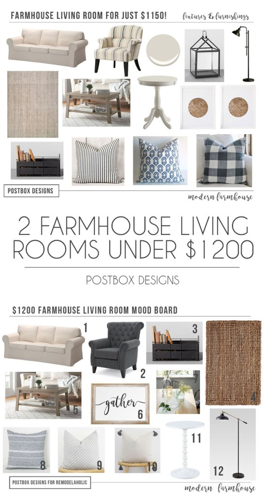 List Of Living Room Furniture. 2 Budget Farmhouse Living Room Designs  Mix Match 1200 Modern Free Mood Board Shopping