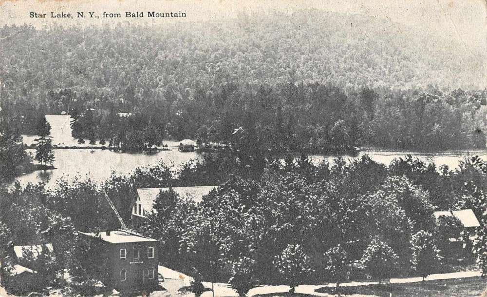 Star Lake New York scenic birds eye view from Bald Mountain antique
