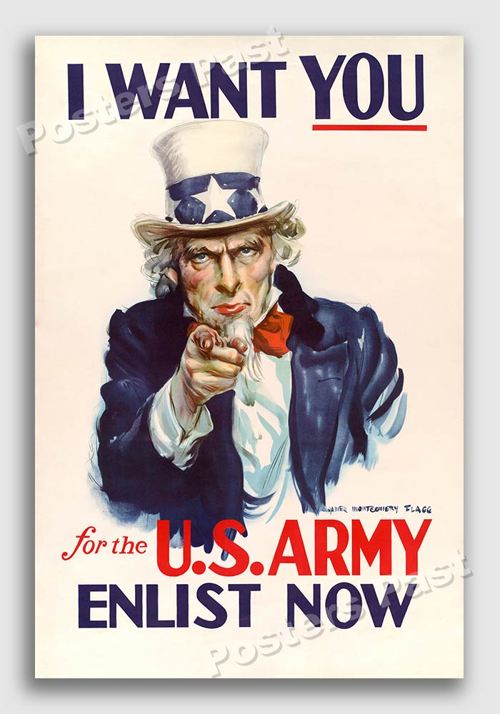 Poster 20x30 1940s I Want You For The U S Army Wwii Historic