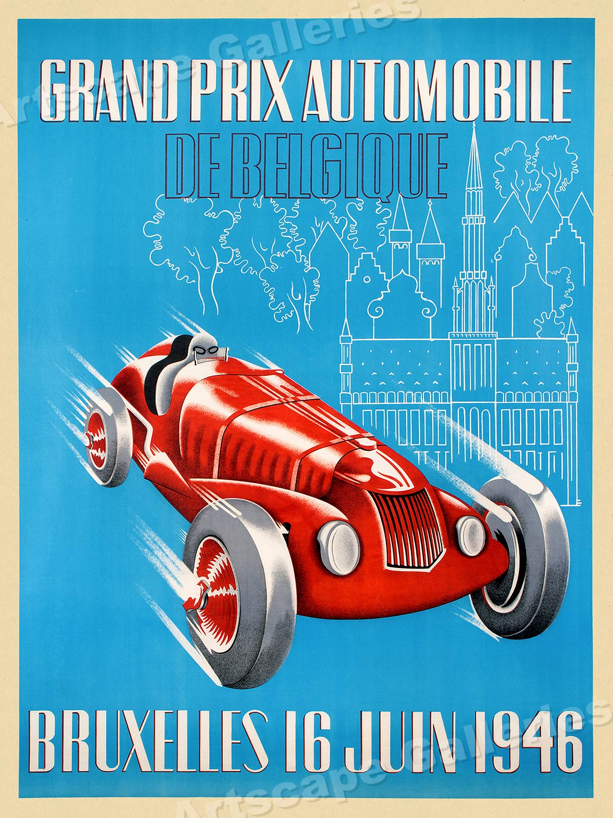 Piece Automobile Prix 1946 Grand Prix Automobile Bruxelles Vintage Style Auto Racing
