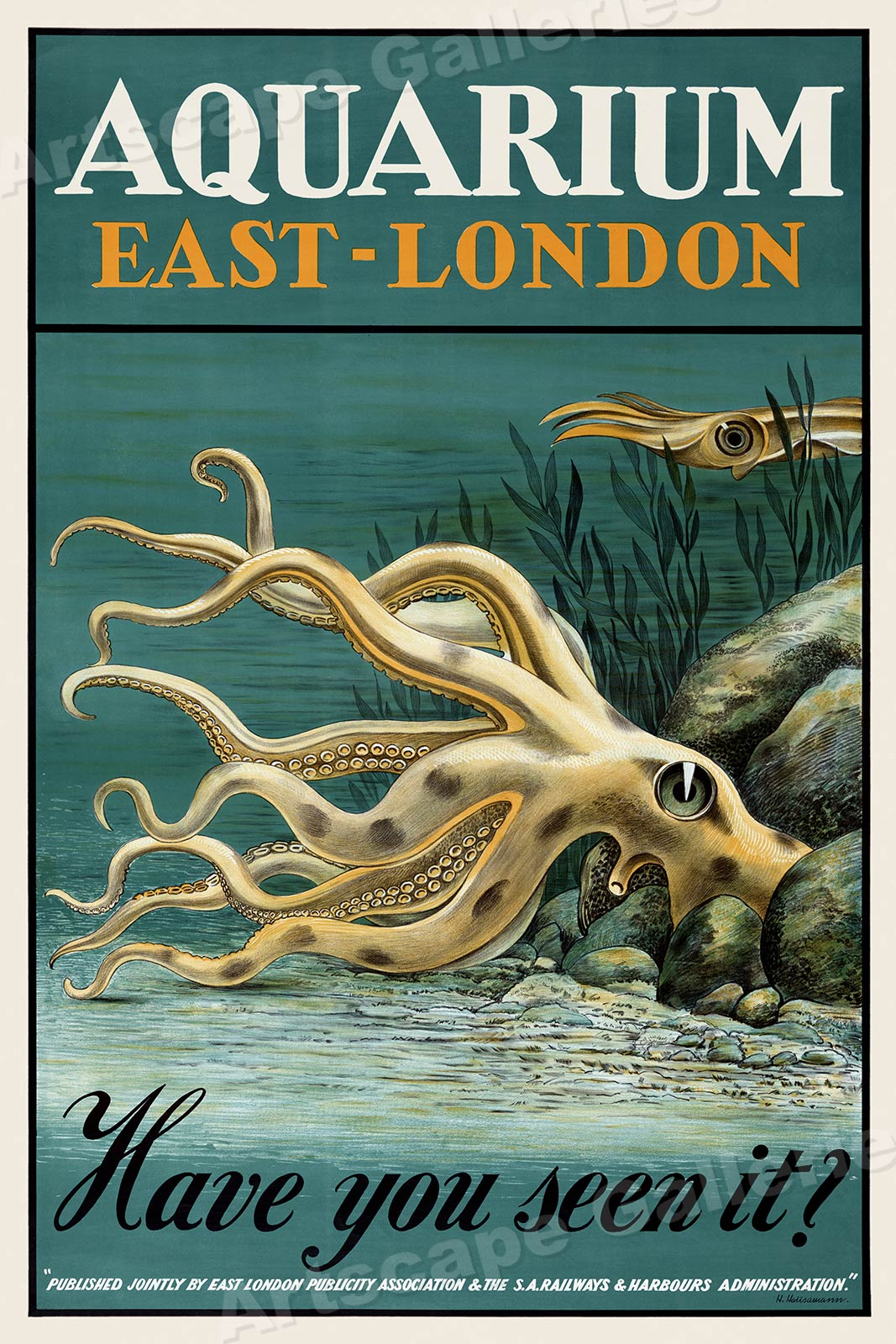 Poster 20x30 East London Aquarium 1930s Vintage Style Travel Poster