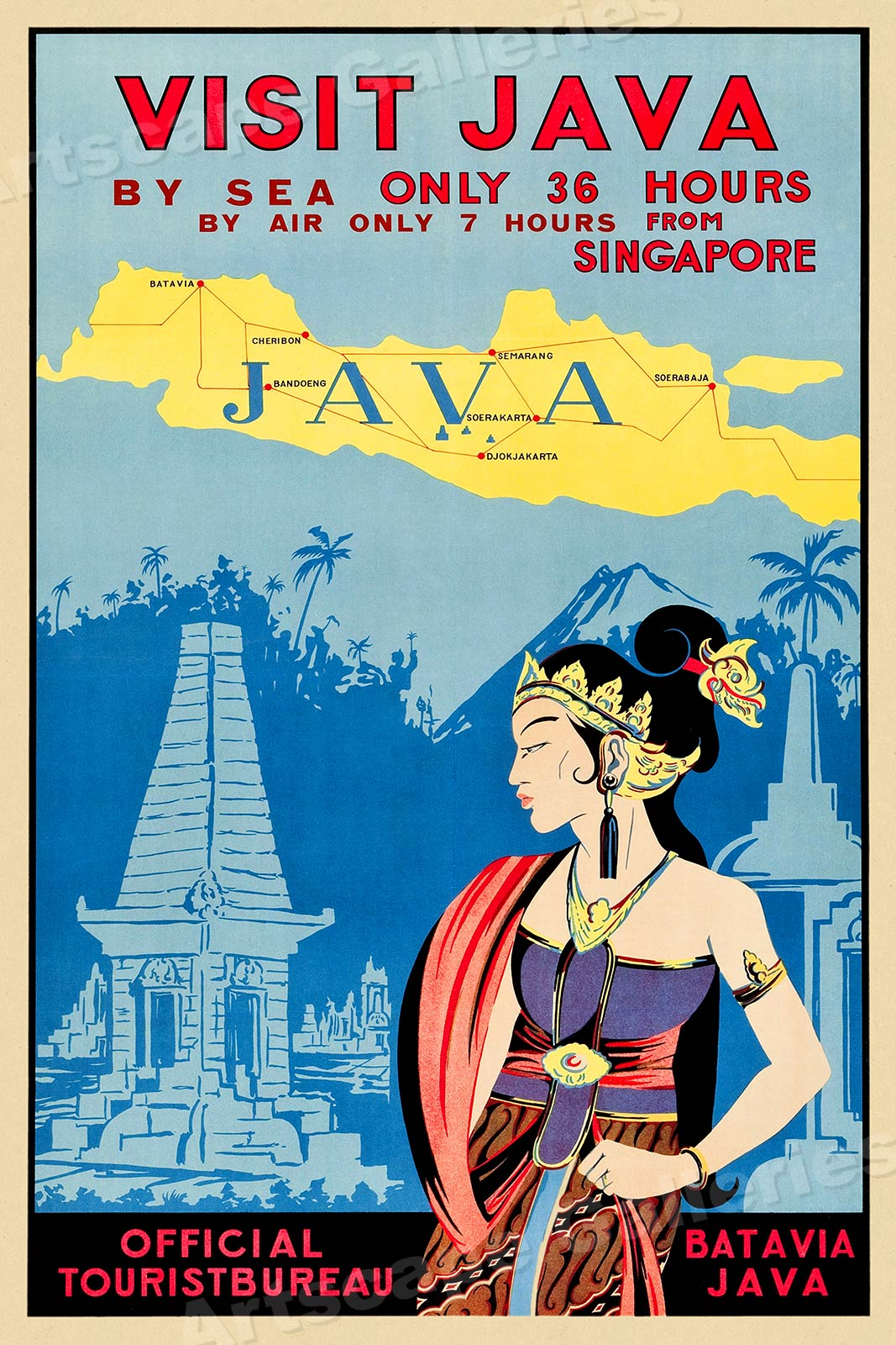 Poster 20x30 1930s Visit Java Vintage Style Asian Travel Poster