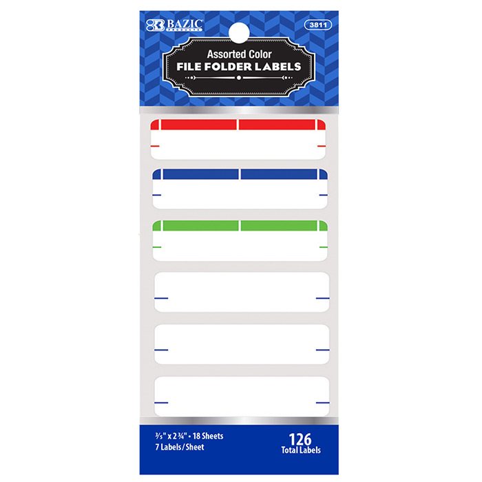 Assorted Color File Folder Label (126/Pack) Postmaster Depot