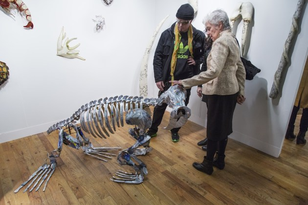 Christy Rupp's skeleton sculpture is made of clipped up credit cards