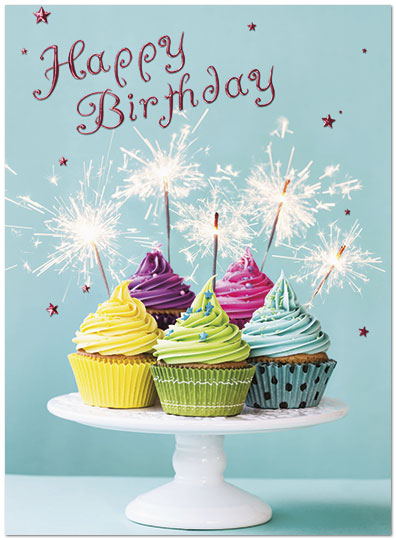 Birthday Greetings Jewish Sparkle Cakes Birthday Card | Business Birthday Cards
