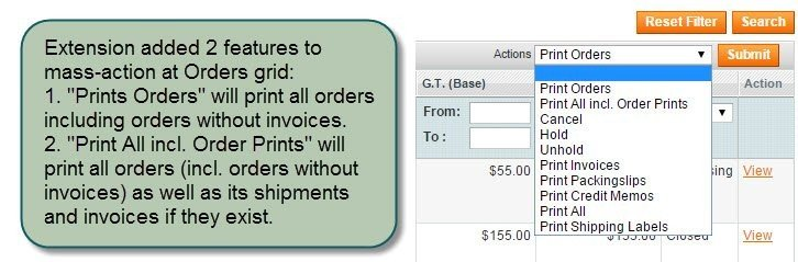 Print Any Order Magento Extension - Print PDF Packing Slips - print invoice