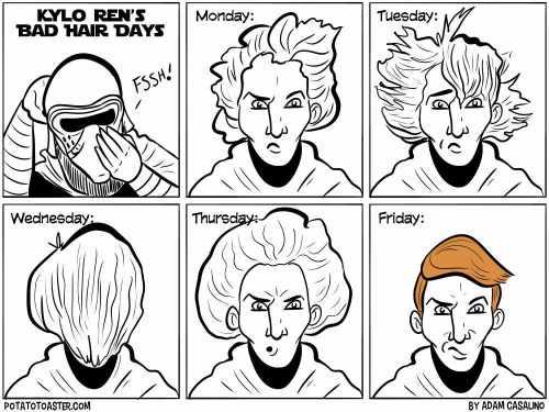 Kylo Ren Bad hair days.