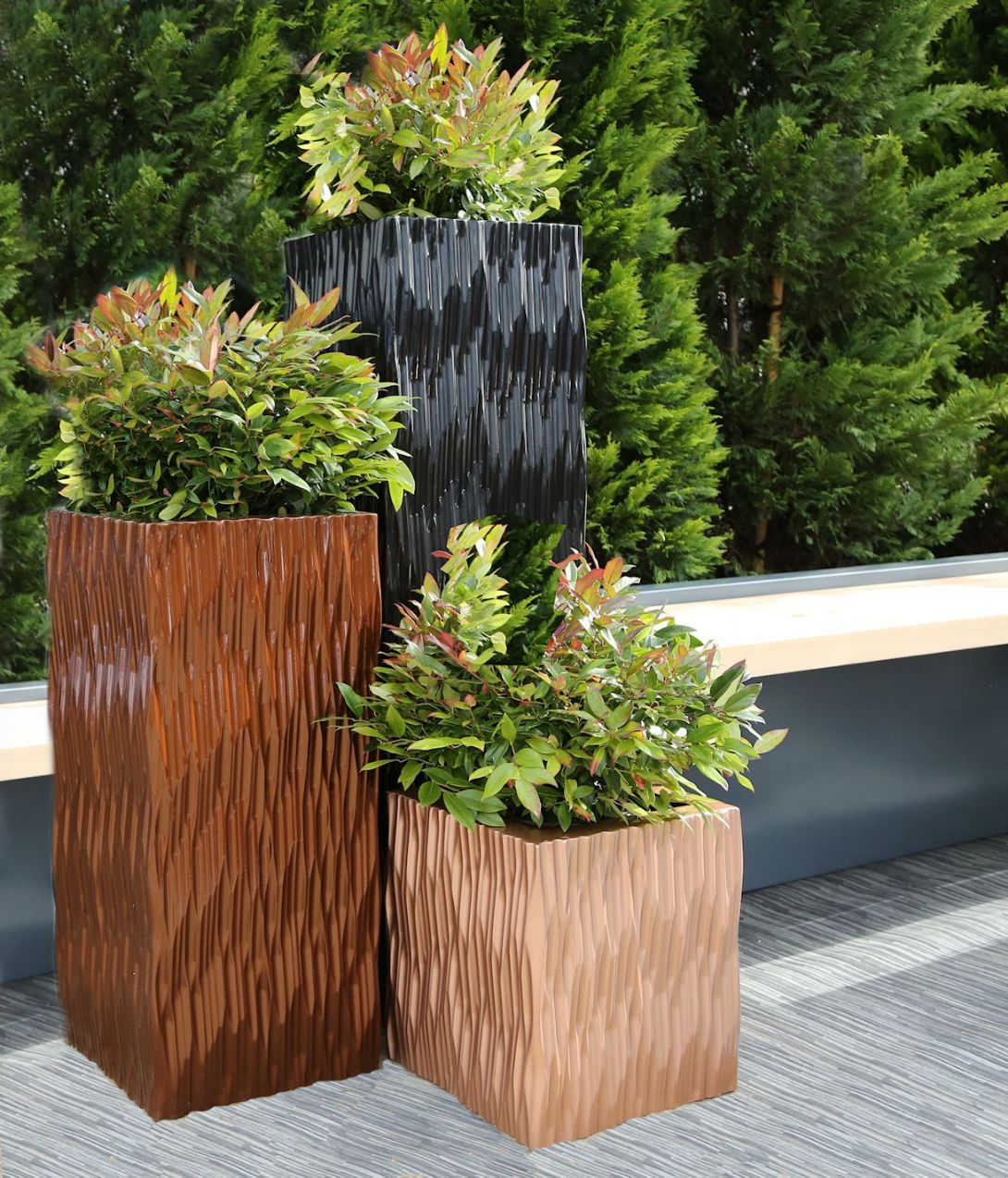 Modern Planters Outdoor Cheap Grp Flexi Tall Square And Trough Planters From Potstore Co Uk