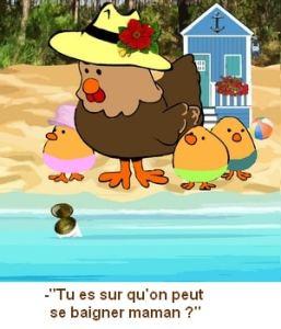 poule rigolotte à la plage