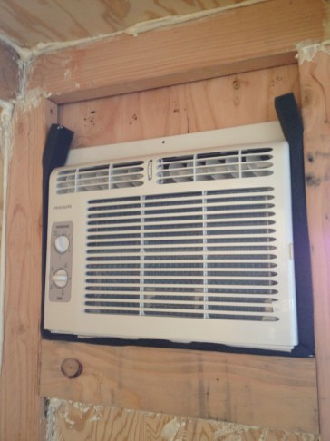 Sealing in the AC unit.