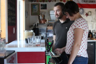 Eryn and Justin getting the beers ready to be poured.